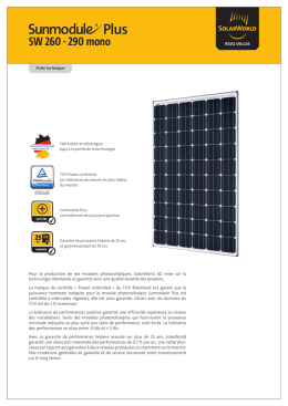 Fiche Technique Solarworld 260