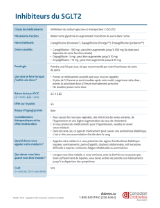 Inhibiteurs du SGLT2 - Canadian Diabetes Guidelines