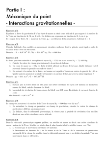 Partie I : Mécanique du point - Interactions gravitationnelles -