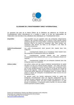 GLOSSAIRE DE L`INVESTISSEMENT DIRECT INTERNATIONAL Ce