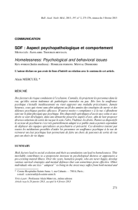 SDF : Aspect psychopathologique et comportement Homelessness