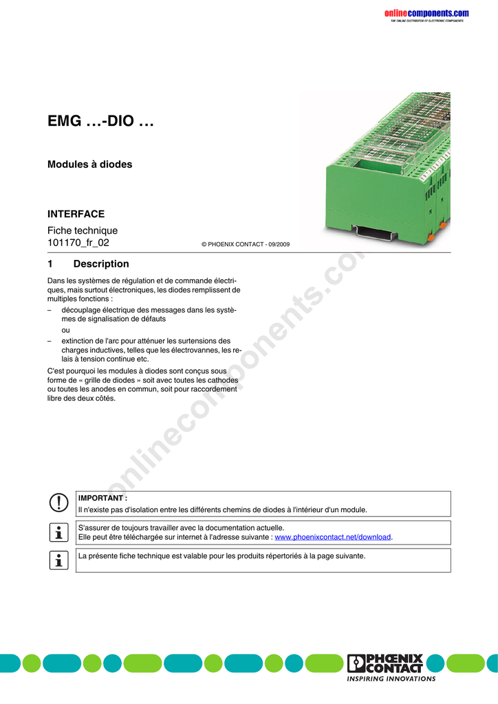 EMG 90-dio 32 M 2954934 Phoenix Contact diodes Module commune a avec 32 diodes