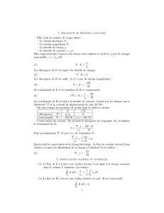 1. Equations de Maxwell (locales) 2. Formulation globale ou intégrale