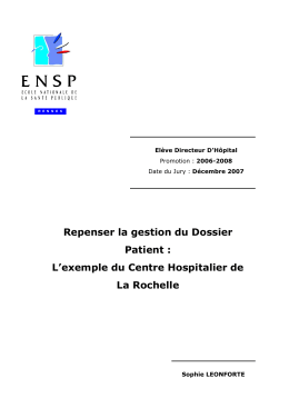 Repenser la gestion du Dossier Patient : l`exemple du Centre