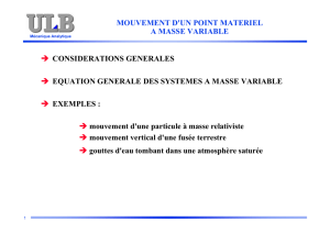 mouvement d`un point materiel a masse variable → considerations