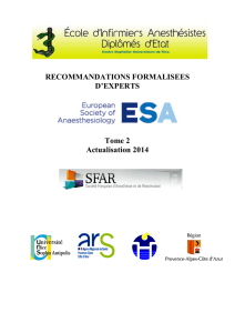 RECOMMANDATIONS FORMALISEES D`EXPERTS