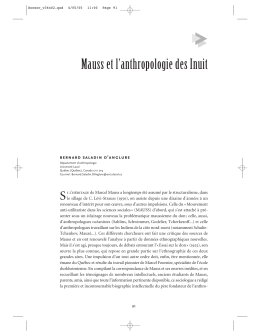 Mauss et l`anthropologie des Inuit