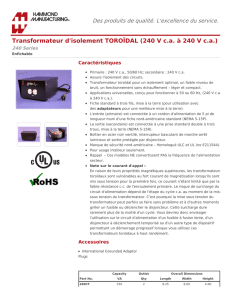 Transformateur d`isolement TOROÏDAL (240 V c.a.