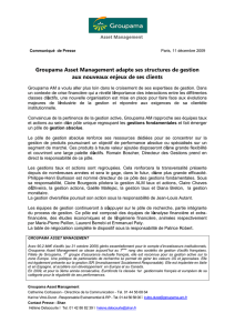 Groupama Asset Management adapte ses structures de gestion aux