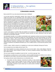 L`alimentation … les options