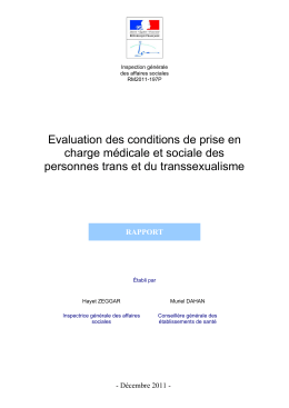 Evaluation des conditions de prise en charge médicale et sociale