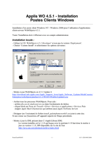 Applis WO 4.5.1 - Installation Postes Clients Windows