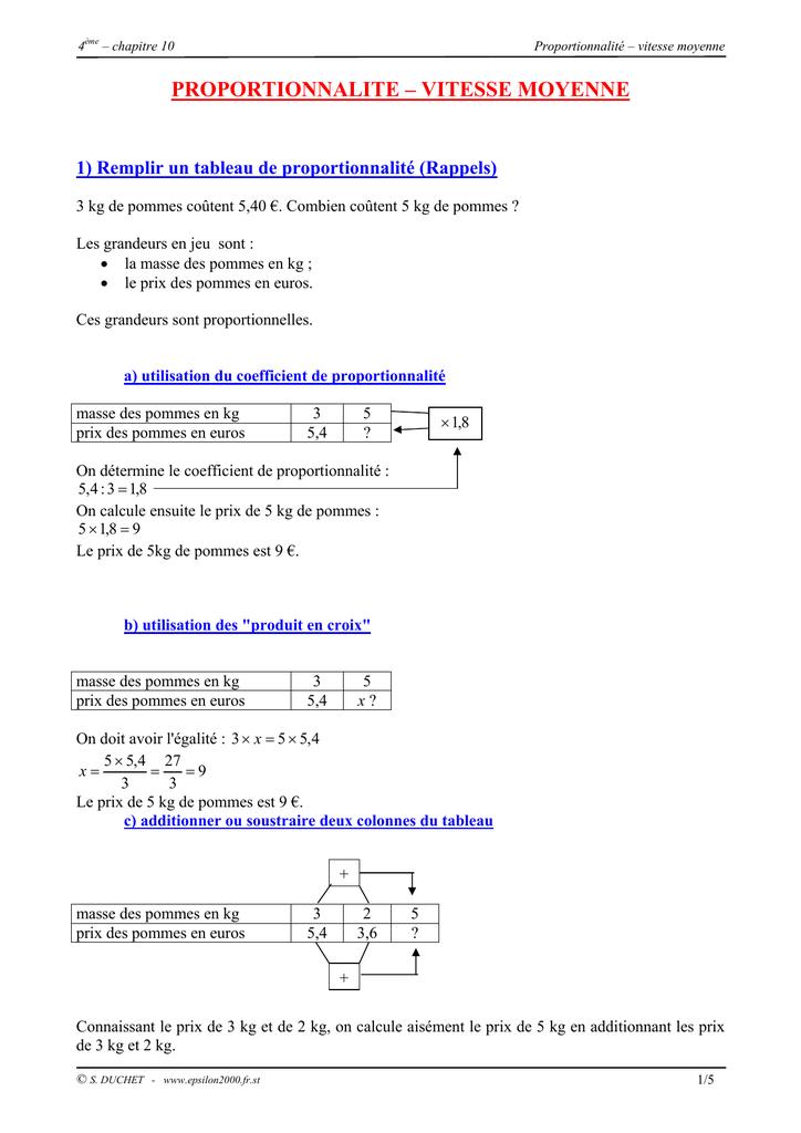 proportionnalite - vitesse moyenne