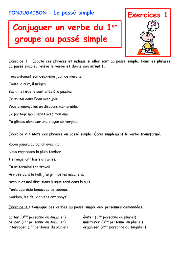 Conjuguer Un Verbe Du 1er Groupe Au Passe Simple