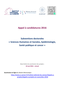 Appel à candidatures - Institut National Du Cancer