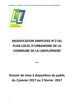 MODIFICATION SIMPLIFIEE N°2 DU PLAN LOCAL D`URBANISME