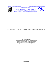 elements d`hydrologie de surface