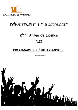Licence 2 - UFR Sciences Humaines