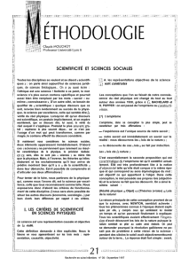 SCIENTIFICITÉ ET SCIENCES SOCIALES