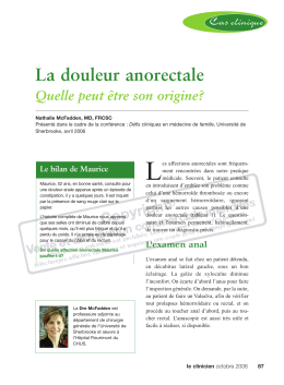 La douleur anorectale - STA HealthCare Communications