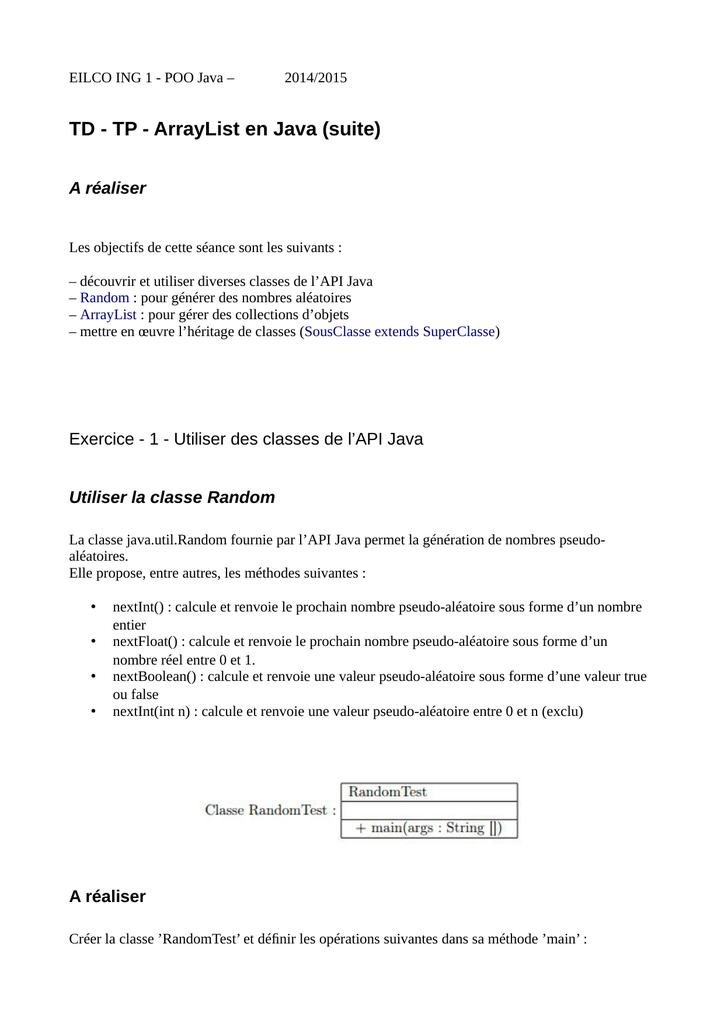 Td Tp Arraylist En Java Suite