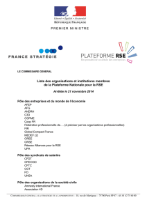 Liste des organisations et institutions membres de