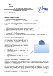 Questions de cours (3 points) Exercice 1 : Réfraction limite (3 points
