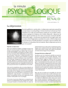 La Minute psychologique—La dépression