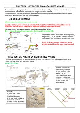l'evolution des organismes vivants i une origine commune ii des