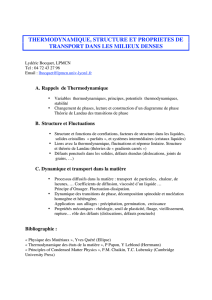 thermodynamique, structure et proprietes de transport dans les