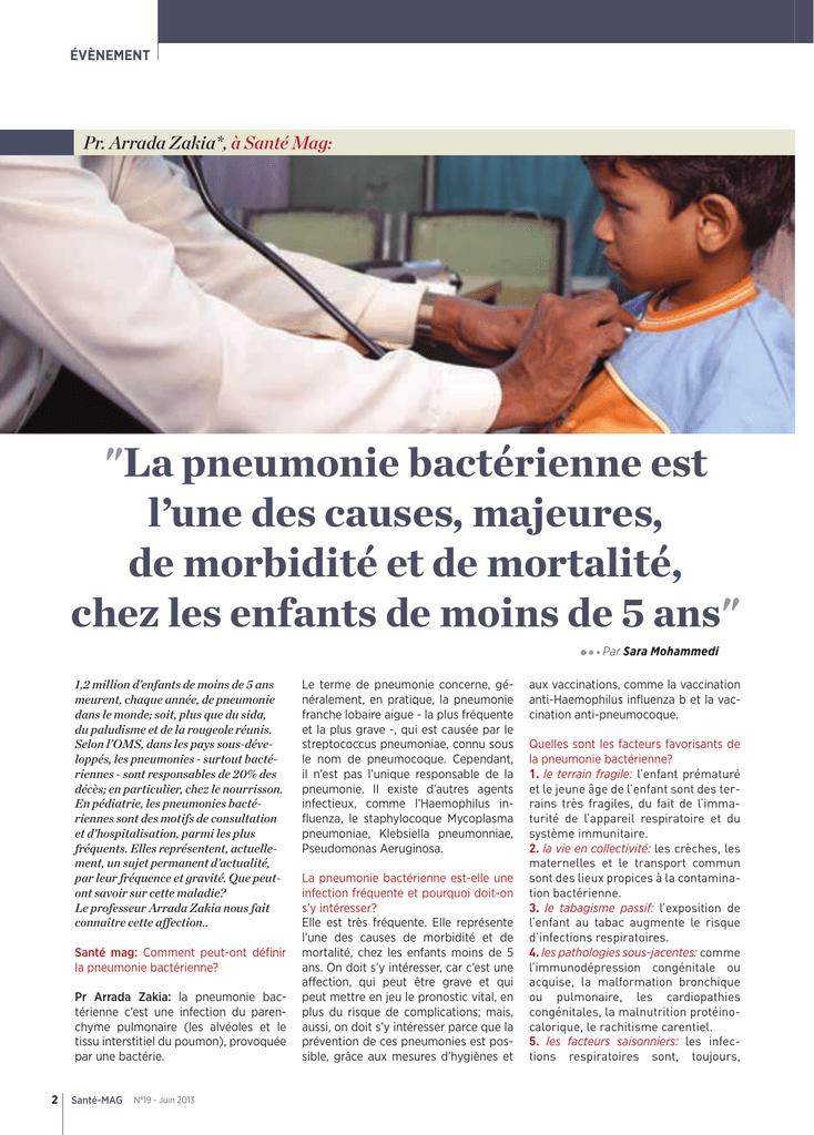 La pneumonie bactérienne est l`une des causes