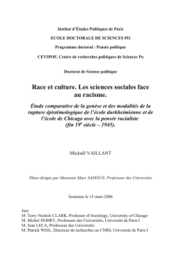 Race et culture. Les sciences sociales face au racisme. Étude