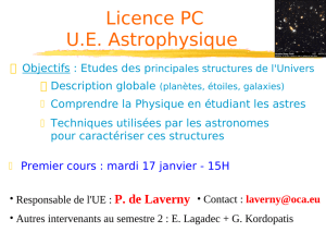 Description de la structure de l `Univers