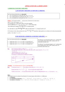 APPLICATION DE LA DERIVATION