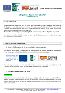 Obligations de publicité LEADER
