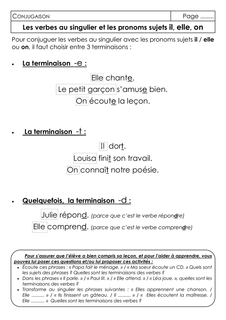 Classeur Outils Conj Les Verbes Au Singulier Avec Il Elle On