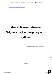 Marcel Mauss retrouvé. Origines de l`anthropologie du