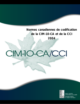 Normes canadiennes de codification de la CIM-10