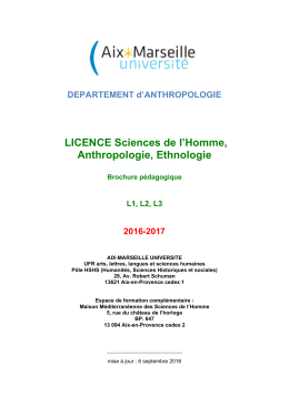 LICENCE Sciences de l`Homme, Anthropologie