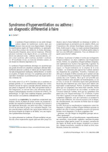 Syndrome d`hyperventilation ou asthme : un diagnostic