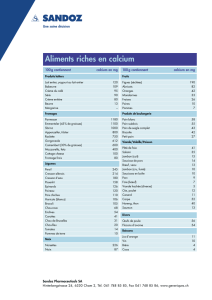 Aliments riches en calcium - Sandoz Pharmaceuticals AG