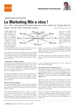 Le Marketing Mix a vécu