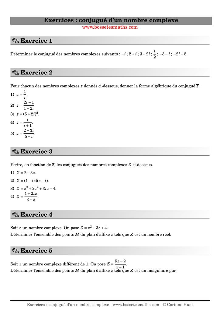 Exercices Conjugue D Un Nombre Complexe
