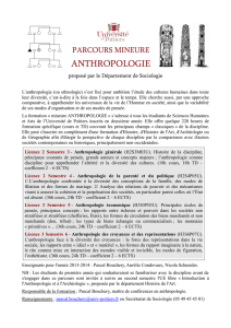 anthropologie - UFR Sciences Humaines et Arts