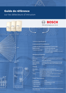 Guide de référence - Bosch Security Systems