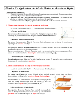 Applications des lois de Newton et des lois de Kepler