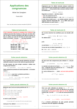Applications des congruences