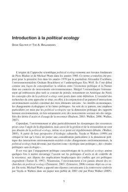 Introduction à la political ecology