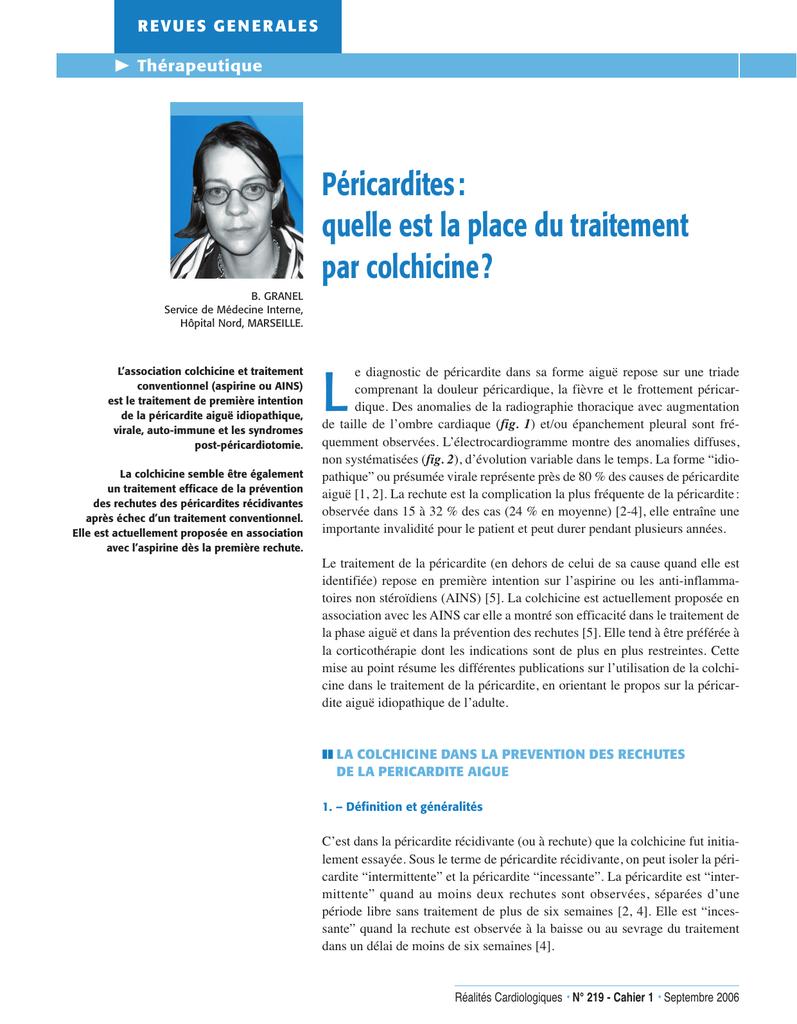 Péricardites: quelle est la place du traitement par colchicine ?