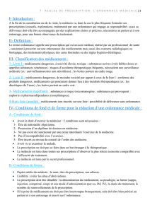 I- Introduction : II- Définition : III- Classification des médicaments : IV